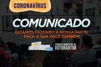 Câmara anuncia novas medidas de prevenção ao Coronavírus